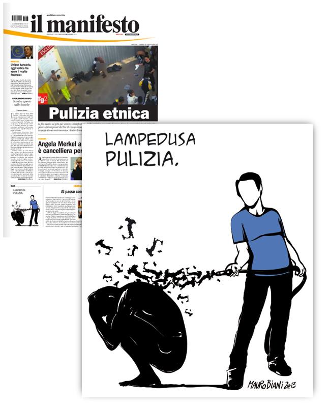 migranti-lavare-tubo-italia-il-manifesto