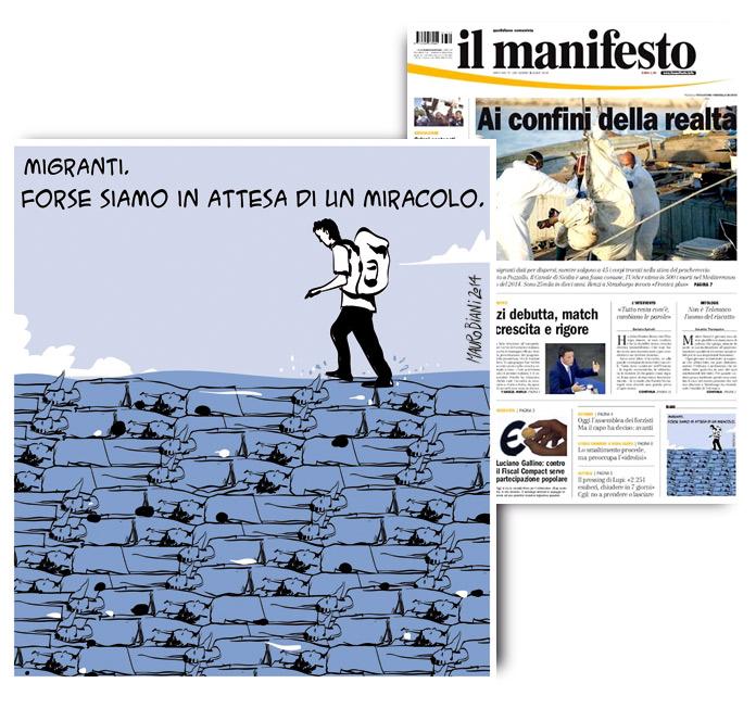 migranti-camminare-acque-il-manifesto